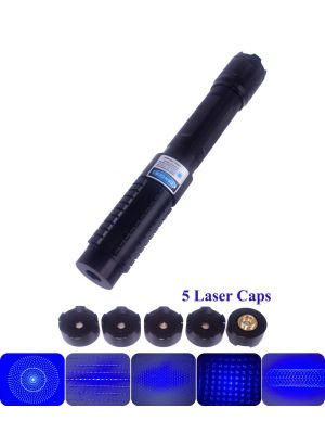 High Power 3000mW 445nm Blue Laser Pointer, able to light matches, cigarettes, burn papers, plastics, wood, and engrave on low melting point metals. Laser brightness and focus is adjustable. Interchangeable lens design, come with 5 laser lenses.