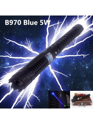 The B970 5 watts blue laser is the most powerful handheld burning laser in the market. Key specifications: 5000mW, Blue 450nm, 120 seconds duty cycle, lower than 2.5 mRad divergence, 18 kilometers / 11.2 miles visible laser beam distance, interchangeable