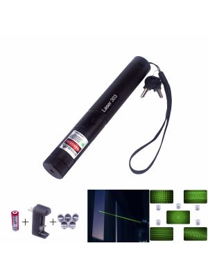 Laser Pointer 303 is 50mW high power green 532nm  laser, features its interchangeable lens with kaleidoscope light effects, safe key lock, ability to ignite matches,  shoot balloons, engrave on plastics, and shoot off firecrackers. Available in our