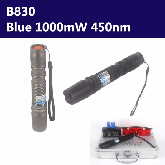 1000mW 450nm Blue High Power Burning Laser Pointer - Torch & Flashlight Style - B830