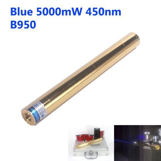 5000mW 450nm High Power Blue Burning Laser Pointer - Copper Shell - B950