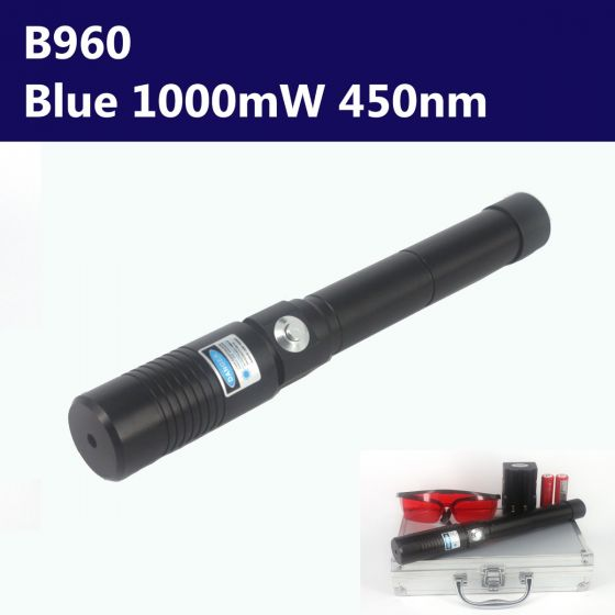 1000mW 450nm Blue High Power Burning Laser Pointer - Torch Style - Black Shell