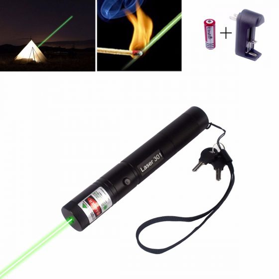 50mW 532nm Green Laser Pointer Zoomable-Lens Flashlight-Shape Can-Ignite-Matches