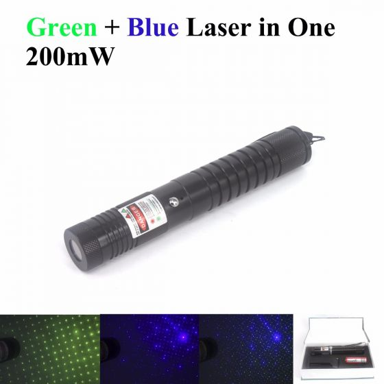 This laser pointer has tow laser diode modules, a green laser diode and a blue laser diode.
