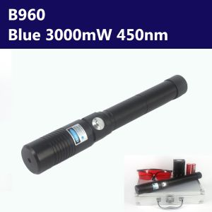 3000mW 450nm Blue High Power Burning Laser Pointer - Black Shell