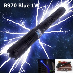 The B970 1 watt blue laser is the best 1w handheld laser in the market. Key specifications: 1000mW, Blue 450nm, 120 seconds duty cycle, lower than 2.5 mRad divergence, 5 miles(8km) visible laser beam distance, interchangeable lens, adjustable focus