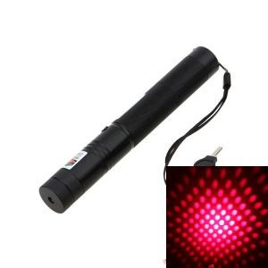 True 150mW 650nm Red Burning Laser Pointer with Battery Charger 5-Lenses - R303